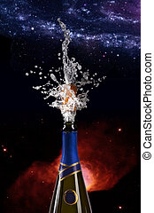 champagne, explosion, bouteille, bouchon