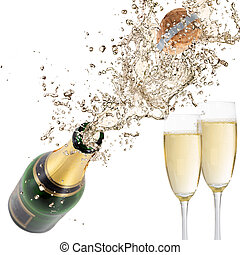 Close-up of champagne explosion. Celebration theme.