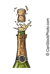 champagne, explosion., fles