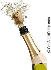 Champagne explosion - bottle of champagne popping its cork...