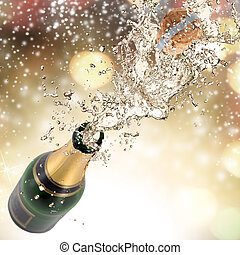 Champagne explosion - Close-up of champagne explosion....