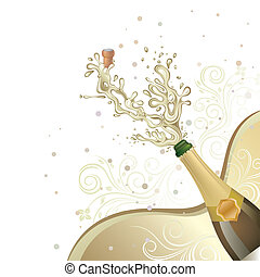 champagne explosion, vector floral background