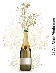 champagne explosion, vector floral