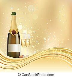 champagne, fejre, baggrund