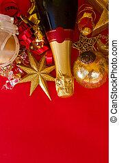 champagne flaska, år, färsk, utsmyckningar