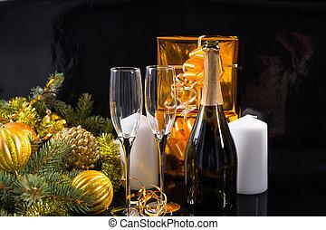 champagne fles, en, bril, met, de giften van kerstmis