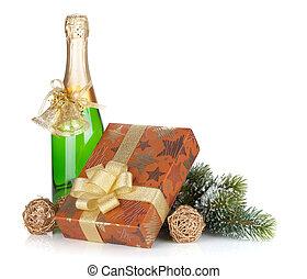champagne fles, kerstkado, doosje, decor, en, pijnboom