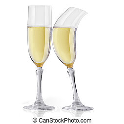 Champagne flirting - Two champagne glasses one is bending...