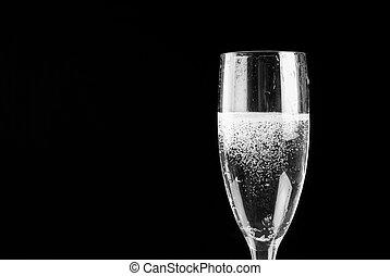 champagne fluit, gevulde, met, mousserende wijn