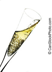 Champagne flute - Champagne glass isolated on white.