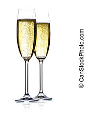 two glasses of sparkling wine, isolated, studio shot