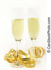 Champagne flutes with golden ribbon