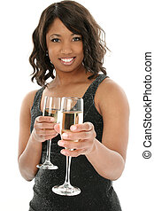 Champagne for Two - Beautiful African American woman in ...