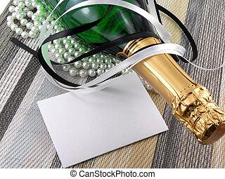 champagne, gåva, flaska, inbjudan, helgdag, julkort