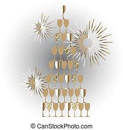 champagne glas, toren, feestelijk, vector, achtergrond.