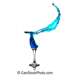 Champagne Glass Blue Liquid Splash