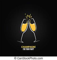 champagne glass design party menu background