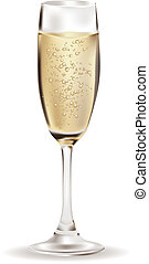 Champagne glass - Glass of Champagne illustration over white...