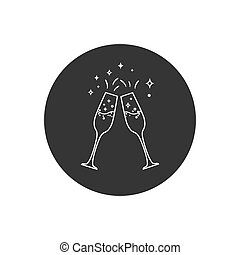 Champagne glass line icon. Vector illustration modern flat style