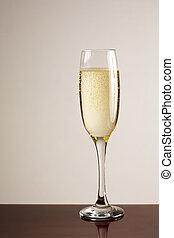 Champagne glass macro.