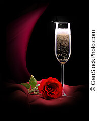 champagne glass on black and red silk - luxury champagne...