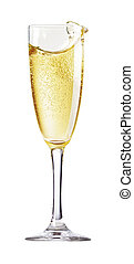 Champagne Glass with abstract splash