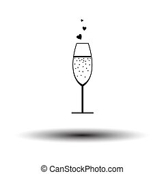 Champagne Glass With Heart Icon