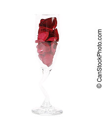 Champagne glass with rose petals