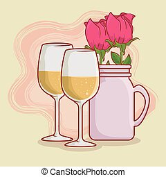 champagne glass with roses inside vase to celebrate valentines day