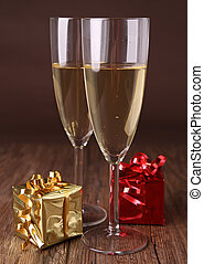 champagne glasses and presents