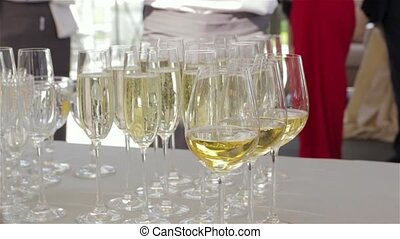 Champagne glasses at banquet luxury expensive decoration set...