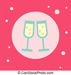 Champagne Glasses Icon On Pink Background