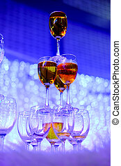 Champagne glasses in wedding ceremony