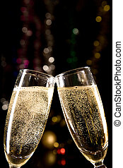 Champagne glasses making toast