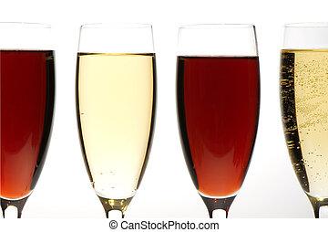 champagne glasses on grey macro