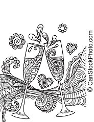 Champagne glasses toasting - Line art design of champagne...