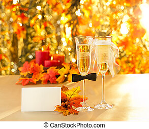 Champagne glasses with conceptual heterosexual decoration