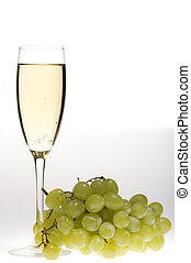 champagne glasses with grapes macro