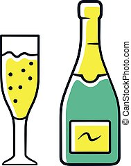 Champagne green color icon. Uncorked bottle and flute glass ...