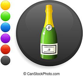 champagne icon on round internet button