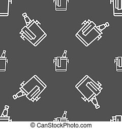 Champagne icon sign. Seamless pattern on a gray background. Vector