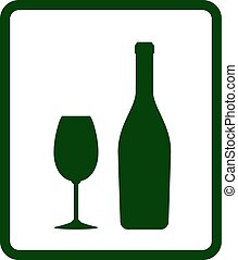 champagne icon with bottle glass