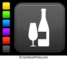 champagne, icona, su, quadrato, internet, bottone