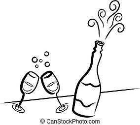 Illustration of a champagne bottle and two glasses