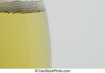 Champagne in glass with white background