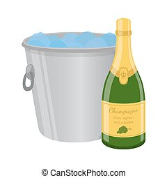 Champagne in ice bucket. Cartoon flat style. Vector illustration