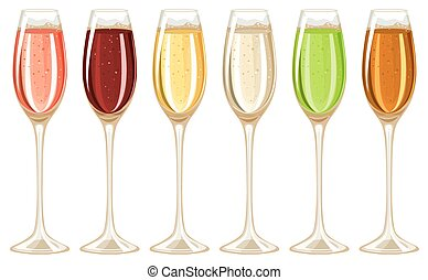Champagne in tall glass illustration