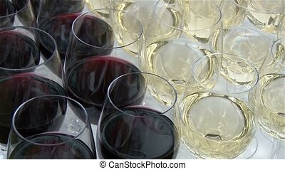 Champagne in wineglass, in a restaurant, Restaurant interior, buffet table, close-up
