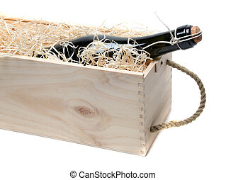 champagne in wooden box
