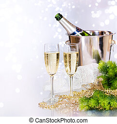 champagne., jaarwisseling, viering